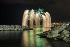 Fuochi d'artificio in mare 2 Fotografia Stock Libera da Diritti