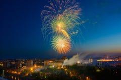 Fuochi d'artificio multicolori Immagini Stock Libere da Diritti