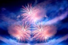 Fuochi d'artificio multipli Fotografie Stock