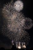 Fuochi d'artificio multipli in cielo notturno in una composizione in tonalità bianche fotografie stock