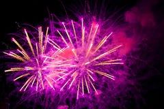 Fuochi d'artificio nel cielo Fotografie Stock Libere da Diritti