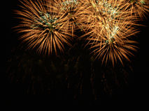 Fuochi d'artificio nel cielo notturno Fotografie Stock Libere da Diritti