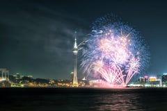 Fuochi d'artificio nella città di Macao Fotografie Stock Libere da Diritti