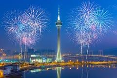 Fuochi d'artificio nella città di Macao, Cina Fotografia Stock Libera da Diritti