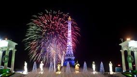 Fuochi d'artificio nella finestra di Shenzhen del mondo Fotografia Stock