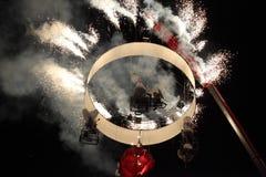 Fuochi d'artificio nella notte Fotografie Stock Libere da Diritti