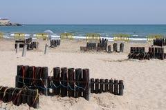 Fuochi d'artificio nella spiaggia Fotografia Stock