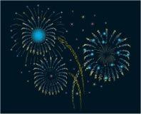 Fuochi d'artificio/nero di nuovo anno Immagini Stock
