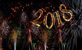Fuochi d'artificio 2018 numeri dorati Fotografia Stock