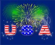 Fuochi d'artificio patriottici S.U.A. Fotografia Stock Libera da Diritti
