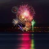 Fuochi d'artificio per il giorno della st Jean Baptiste in Quebec Immagini Stock