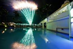 Fuochi d'artificio per la vigilia di nuovi anni Fotografie Stock