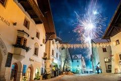 Fuochi d'artificio in Pfunds, Austria Immagini Stock Libere da Diritti