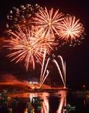 Fuochi d'artificio in porto di Lampedusa immagine stock libera da diritti