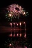 Fuochi d'artificio rosa e verdi Immagine Stock Libera da Diritti