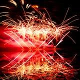 Fuochi d'artificio rosa ed arancio Fotografie Stock Libere da Diritti