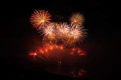 Fuochi d'artificio rossi Fotografie Stock Libere da Diritti