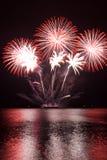 Fuochi d'artificio rossi Immagine Stock Libera da Diritti