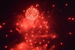 Fuochi d'artificio rossi alla notte nera Immagine Stock