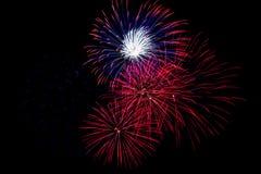 Fuochi d'artificio rossi, bianchi e blu Immagine Stock