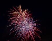 Fuochi d'artificio rossi, bianchi e blu immagini stock