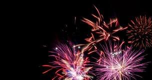 Fuochi d'artificio rossi e fucsia con lo spazio della copia fotografia stock libera da diritti