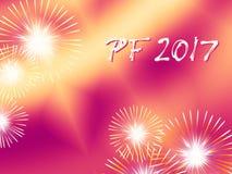 Fuochi d'artificio rossi e gialli PF 2017 Fotografia Stock Libera da Diritti