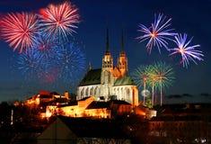 Fuochi d'artificio sopra Brno Immagine Stock Libera da Diritti