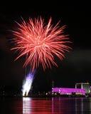 Fuochi d'artificio sopra il Danubio a Linz, Austria #10 Fotografia Stock Libera da Diritti