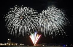 Fuochi d'artificio sopra il lago Michigan Fotografia Stock