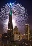 Fuochi d'artificio sopra il ponticello della baia, San Francisco Immagine Stock Libera da Diritti