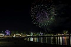 Fuochi d'artificio sopra il suono del Long Island Fotografie Stock