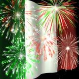 Fuochi d'artificio sopra la bandierina italiana 1 illustrazione di stock