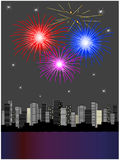 Fuochi d'artificio sopra la città illustrazione vettoriale