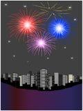 Fuochi d'artificio sopra la città illustrazione di stock