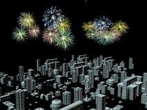 Fuochi d'artificio sopra la città, nuovi anni Fotografie Stock Libere da Diritti