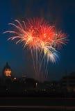 Fuochi d'artificio sopra la condizione Campidoglio del manganese Immagine Stock Libera da Diritti