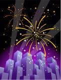 Fuochi d'artificio sopra un orizzonte della città nel formato verticale #2 Fotografie Stock Libere da Diritti