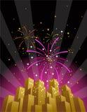 Fuochi d'artificio sopra un orizzonte della città nel formato verticale Immagini Stock Libere da Diritti