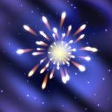 Fuochi d'artificio su blu scuro Fotografia Stock