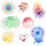Fuochi d'artificio su fondo bianco Immagine Stock Libera da Diritti