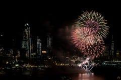 Fuochi d'artificio su Hudson River, New York Immagine Stock