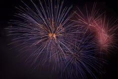 Fuochi d'artificio su un cielo nero Fotografie Stock Libere da Diritti