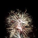 Fuochi d'artificio sul cielo nero Fotografia Stock Libera da Diritti
