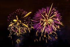 Fuochi d'artificio sul fondo scuro del cielo Immagine Stock
