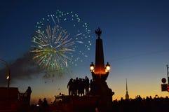Fuochi d'artificio sulla festa di cityday immagine stock libera da diritti