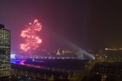 Fuochi d'artificio sulla torretta di cantone Fotografia Stock
