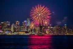 Fuochi d'artificio Vancouver di giorno del Canada Fotografie Stock