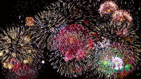 Fuochi d'artificio variopinti alla notte di festa video d archivio