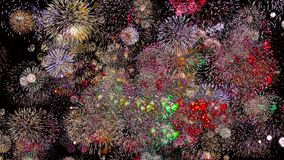 Fuochi d'artificio variopinti alla notte 4k di festa royalty illustrazione gratis